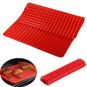 Pyramid Silicone Oven Baking Tray Sheets Mat Pan Non Jut out Fat Reducing.