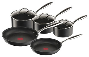 Cookware Set Tefal Larder Apliance Essential Black 5 Pieces New Non Stick.