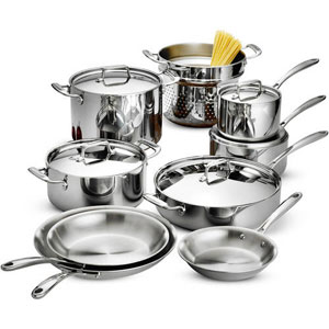Tramontina 12 Drama Gourmet Tri Ply Base Cookware Set Stainless Steel.
